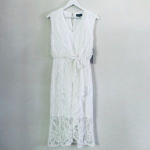 NWT Luxology White Tea Length Lace Dress